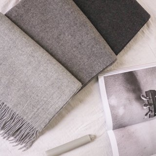 Grey wool tassel scarf (3 shades available)