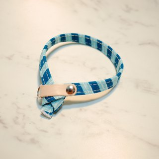 Cat collar Japanese cotton blue green zebra blue stripe hand-painted wind double sided design with bell planting Zhi skin
