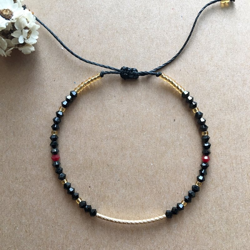 "~ M + bear ~ ""brass"" black crystal thin brass bracelet bracelet / anklet"