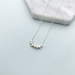 Seven small silver necklace collarbone