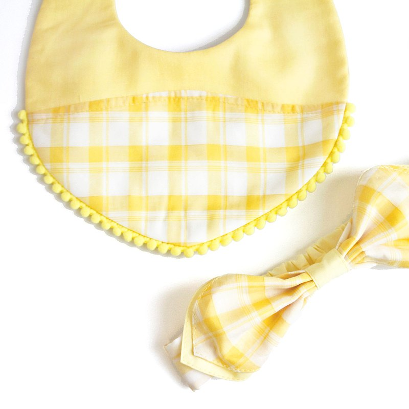 VA.布手作/鵝黃格紋系列-髮帶口水巾套組