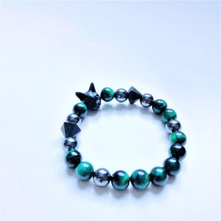 Green Tiger Crystal Black Rock Cat Bracelet
