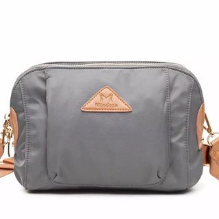 Simple water-repellent cowhide nylon shell bag / Crossbody Bag / Shoulder Bag / Mobile Phone Bag / Shoulder Bag / Gray # 1016