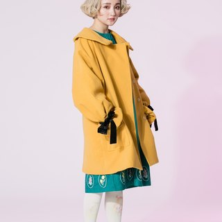 : EMPHASIZE cuff velvet bow tie wool coat - Yellow