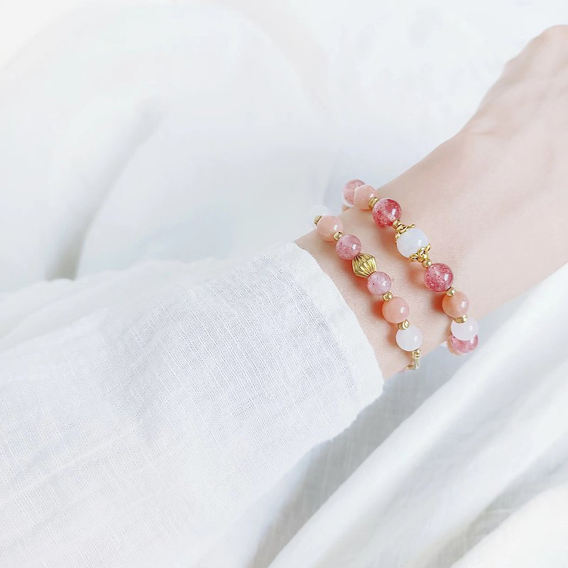 刻在你心裡ii 太陽石、粉晶、草莓晶 超級愛情手鍊 日本蠶絲線