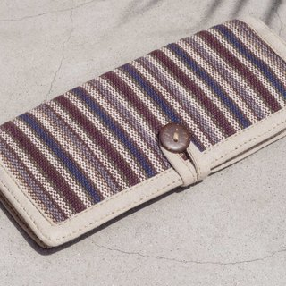 Handmade cotton and linen wallet / woven stitching leather long clip / long wallet / coin purse / woven wallet - violet