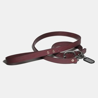 LUCE vegetable tanned leather leash + collar + US brand name concession group - tricolor