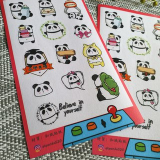 Cute panda and paper stickers (clip doll machine)