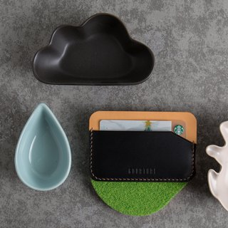 Card holder / credit card / card / leisure card Buttero vegetable tanned leather deep black jump color - GC02