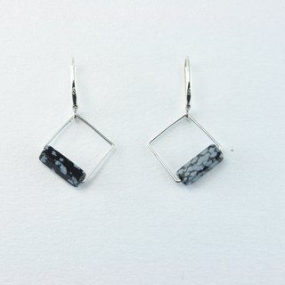 NATURAL Stone 925 Silver Earrings(Rectangle)