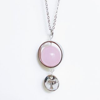 Initial A to Z  Pink Natural Stone Ball Necklace Birthday Gift Bridesmaid