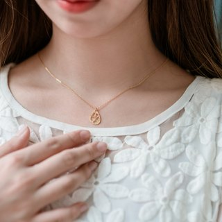 Thread empty small water droplets necklace / 18K gold-day