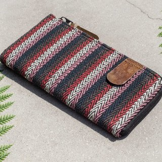 Chinese Valentine's Day gift birthday gift Chinese Valentine's Day gift limited edition handmade cotton wallet / woven stitching leather long clip / long wallet / purse / woven wallet - South American style strawberry juice national wind hand-woven