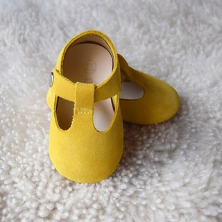Mustard Yellow Baby Mary Jane, Leather T-Strap Mary Jane, Baby Girl Moccasins