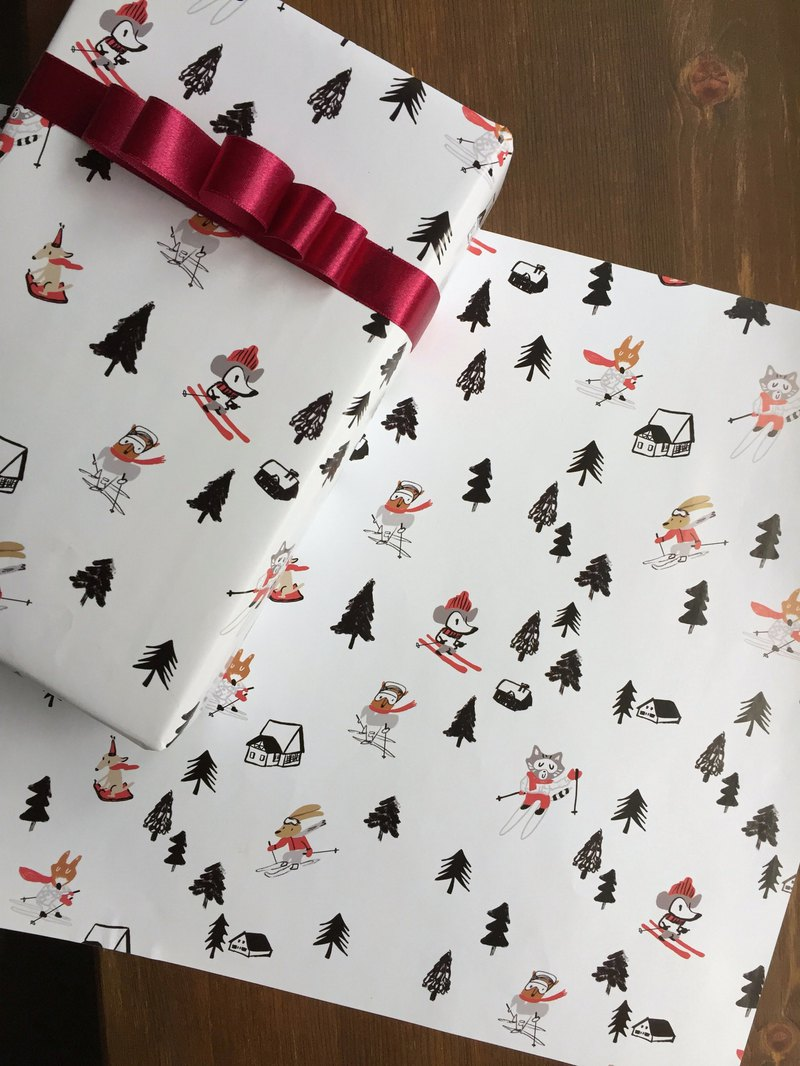 Christmas wrapping paper ski wrapping paper set of 5