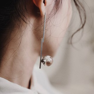 純銀白水晶球長柱耳針 (單支) CLEAR QUARTZ BALL LONG BAR EARRING – 925 SILVER (SINGLE)