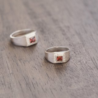 2 set) Square garnet twisted pairing silver 925