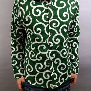Long-sleeved Japanese pattern shirt (large arabesque) green