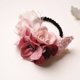 Autumn Red Fabric Flower Hair Band Hair Tie HA0217