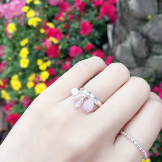[Sakura Limited Edition] Hand-painted Mini Pink Cherry blossoms Flower Flying Crystal Pearl Ring