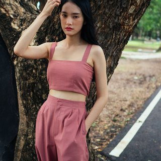 (SIZE M) ROSE PINK COTTON LINEN TUBE CROP TOP WITH STRAP AND BACK SHIRRING
