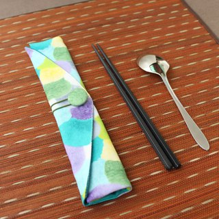 adoubao-Chopsticks set Cutlery bag - Blue green purple & soft hair ball printing