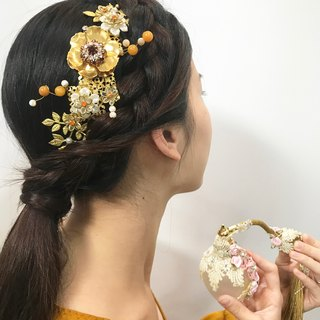 Ruby Orchard Bride Wedding Handmade Amphibole Retro Gold Headdress