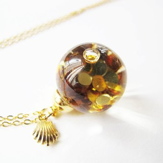 *Rosy Garden* golden mermaid glitter with water inisde glass ball necklace