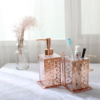 Rose gold flower blooms _ bathroom storage into pairs of pairs