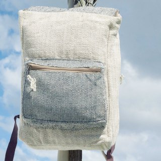 Cotton and linen stitching design backpack / shoulder bag / ethnic mountaineering bag / patchwork bag / computer bag - South American geometry