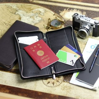 革職人 LEATHER FACTORY【CROWN Round Fastener Passport Case】Made in Japan