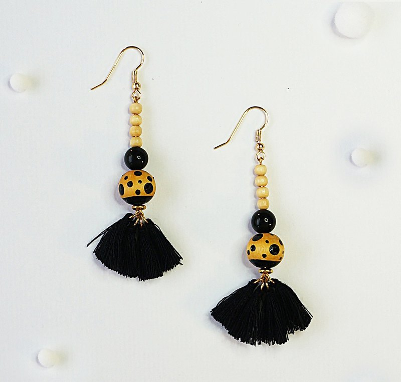 Polka dot planet-Hand painted wooden beads tassel earrings