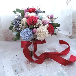 [Enamoured] Red Rose Dry Flower Bouquet / Bridal Bouquet / Hand Tied Flower