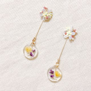 Flower sweet water embankment hand made dry flower embossed cute temperament two wearing ear pin / ear clip