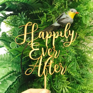 Happily Ever After Cake Topper Decorative props Love Wedding Anniversary Wood