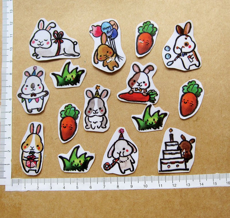 Hand-painted illustration style fully waterproof sticker rabbit party party pack of 15
