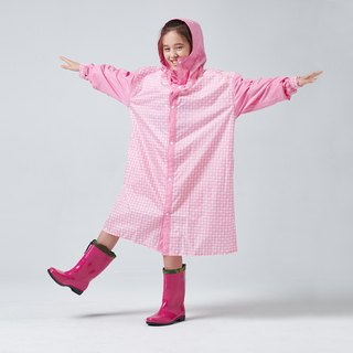 BAOGANI Children's Raincoat Houndstooth Backpack (Pink)