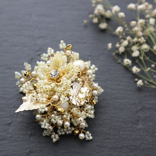 Beaded Bouquet Brooch (Yellow)