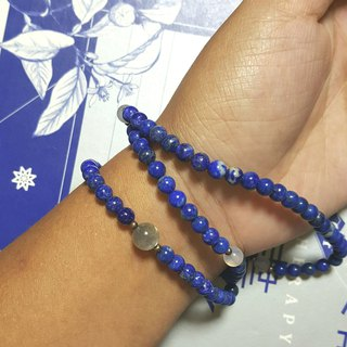 108 perles bluestone / three laps natural lapis 6mm