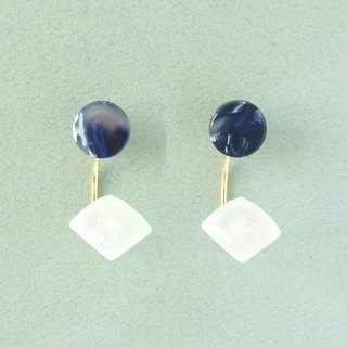 Marble Labs Impressionist Round Ink Blue Pearl / Mosaic Front and Back Two Wear 2 way Earrings / Ear Clip (EP012)