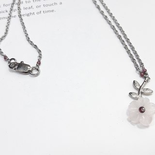 ◎ rose quartz necklace petal red pomegranate fine stainless steel chain