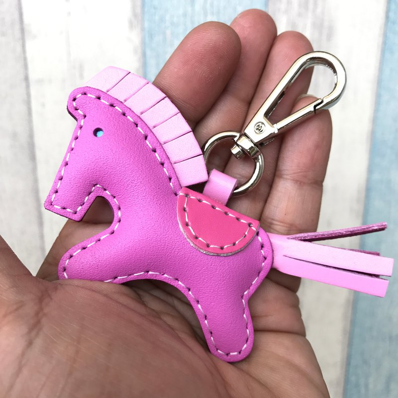 Healing small things pink cute pony hand-sewn leather keychain small size