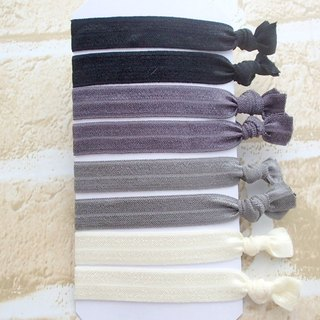 Hair Ties,Set of 8,Elastic Hairband,No Crease,Creaseless,Fold Over Elastic,Ponytail Holders,Bracelet,Black,Grey,Solid