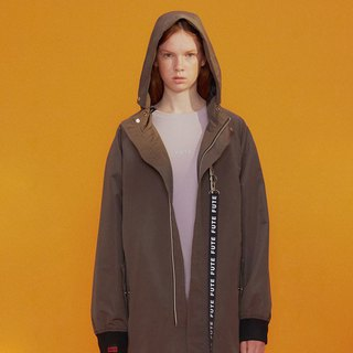 UNISEX WATER-REPELLENT HOODED LONG PARKA COAT / Oliver Green