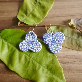 Ceramic Earrings, Blue and White Sterling Silver 925