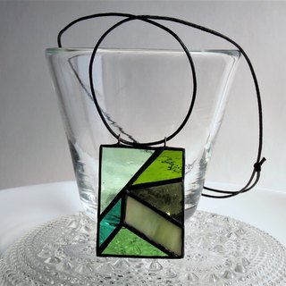 Mosaic pendant green stained glass