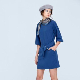 AEVEA Belted V-neck Sleeve Dress