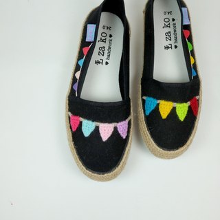 Black cotton canvas hand made shoes small flag models have a woven section