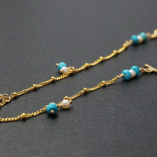 Blue Sky Blue Turquoise 14K Gold 1/20GF Gold Note Gold Bracelet Light Jewelry
