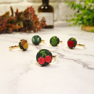 Embroidered cloth ring_Forest Series_Cherry